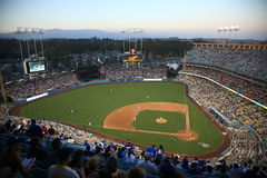 Dodger Stadium - Los Angeles Dodgers. Dodger Stadium at dusk for a baseball game in Los Angeles Stock Photography