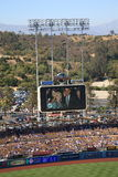 Dodger Stadium - Los Angeles Dodgers. President Obama on the video screen scoreboard at Dodgers Stadium during a Dodgers baseball game in Los Angeles Royalty Free Stock Photos