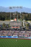 Dodger Stadium - Los Angeles Dodgers. A sunny day Dodgers baseball game at classic Dodger Stadium in Los Angeles, California. Featuring the outfield bleachers Royalty Free Stock Image