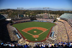 Dodger Stadium - Los Angeles Dodgers. A sunny day baseball game at Dodger Stadium, home of the Los Angeles Dodgers Royalty Free Stock Photos