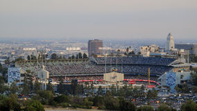 Dodger Stadium view from top. With city hall and downtown as background royalty free stock photo