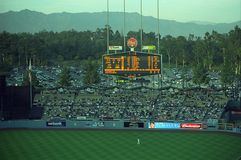 Dodger Stadium - Los Angeles Dodgers. A Dodgers baseball game at classic Dodger Stadium in Los Angeles, California. Featuring the outfield bleachers and classic Royalty Free Stock Photo