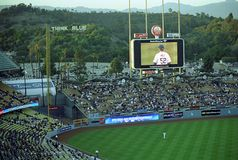 Dodger Stadium - Los Angeles Dodgers. A Dodgers baseball game at classic Dodger Stadium in Los Angeles, California. Featuring the outfield bleachers and video royalty free stock image