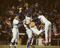 Dodgers win the 1981 World Series. The Los Angeles Dodgers Steve Howe, Steve Garvey and Steve Yeager celebrate winning the 1981 World Series. (Image taken from royalty free stock photos
