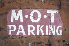 Dodgy MOT Garage Sign royalty free stock photo