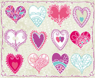 Dodici biglietti di S. Valentino cuore, vettore Fotografia Stock Libera da Diritti