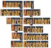 Dodici mesi nel tipo di legno dello scritto tipografico Immagini Stock