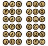 Dodici mesi - simboli nelle chiavi della macchina da scrivere Immagini Stock