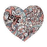 Dodle colorful heart with ornate otnament. Dodle colorful heart with ornament, valentine card template Royalty Free Stock Photography