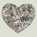 Dodle colorful heart with ornate otnament. Dodle colorful heart with ornament, valentine card template Royalty Free Stock Photos