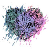 Dodle colorful heart with paint splashes. Valentine card template Stock Photography