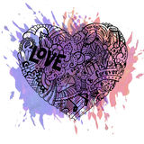 Dodle colorful heart with paint splashes. Valentine card template Stock Photo