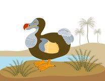 Dodo bird in an island. Vector art of a Dodo bird in an island stock illustration