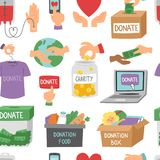 Doe do vetor ajustado do apoio da humanidade da doação dos símbolos da ajuda dos ícones do esboço do dinheiro o fundo sem emenda  ilustração stock