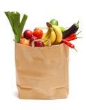 Doe hoogtepunt van gezonde vruchten en groenten in zakken royalty-vrije stock afbeelding