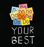 Doe uw beste, woorden op bord. Stock Fotografie