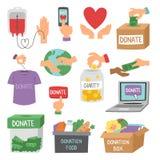 Doe vetor ajustado do apoio da humanidade dos símbolos da filantropia da caridade da contribuição da doação dos símbolos da ajuda ilustração stock