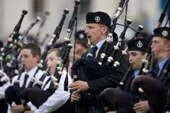 Doedelzakken bij de Spelen van het Hoogland in Schotland Stock Foto's