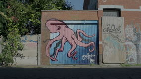 Doel Belgium: Graffiti of Pink Octopus on Blue Garage Door. DOEL, BELGIUM - 2 OCT 2015: Abandoned buildings during a sunny day in Doel, a town being vandalized stock footage