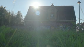 Doel Belgium: Moving to Halloween Horror House at Sunset stock footage