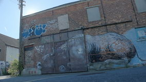 Doel Belgium: Revealing Sun over Graffiti Bull Warehouse. DOEL, BELGIUM - 2 OCT 2015: Abandoned buildings during a sunny day in Doel, a town being vandalized and stock video