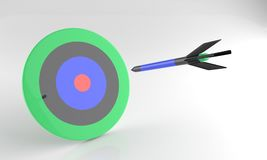 Doel en pijltje 3d potlood, stock illustratie