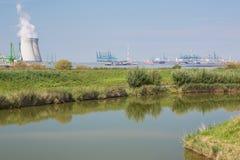 Doel and harbor installations seen from Fort Liefkenshoek Stock Photo