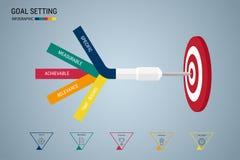 Doel het plaatsen Slim doel Bedrijfsconcepten infographic malplaatje Stock Fotografie