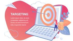 Doel Marketing, Vlak de Banner Vectormalplaatje van SMM royalty-vrije illustratie