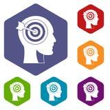 Doel in menselijke hoofdpictogrammen geplaatst hexagon vector illustratie