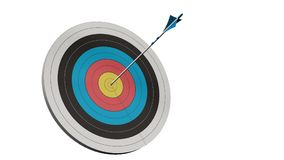Doel met een pijl - Doel met een boogarros in het midden van het geïsoleerde doel Royalty-vrije Stock Afbeelding