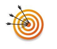 Doel met pijl drie in centrum vector illustratie