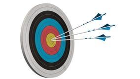 Doel met pijlen - Doel met drie die boogpijlen in het midden van het doel op wit wordt geïsoleerd Royalty-vrije Stock Afbeeldingen