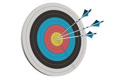 Doel met pijlen - Doel met drie die boogpijlen in het midden van het doel op wit wordt geïsoleerd Royalty-vrije Stock Afbeelding