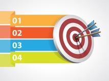 Doel met pijlen en grafische informatie Stock Foto
