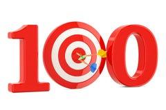 Doel 100, succes en voltooiingsconcept het 3d teruggeven Royalty-vrije Stock Fotografie