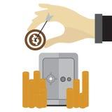 Doel veilige hand van geldmuntstukken op witte achtergrond Stock Afbeelding