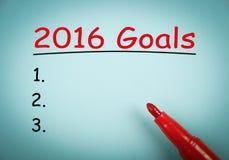 2016 doelstellingen Royalty-vrije Stock Foto's