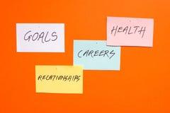 Doelstellingen in carrières, gezondheid en verhoudingen stock foto
