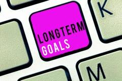 Doelstellingen de Op lange termijn van de handschrifttekst Concept die Strategisch doel betekenen dat meer tijd voor voltooiing w stock fotografie
