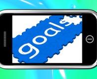 Doelstellingen die op Smartphone Toekomstige Aspiraties tonen royalty-vrije illustratie
