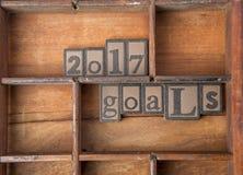 2017 doelstellingen in gezet houten Stock Afbeelding