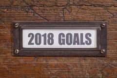 2018 doelstellingen - het etiket van het dossierkabinet Stock Foto