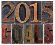 2015 doelstellingen in houten type Stock Fotografie