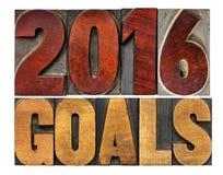 2016 doelstellingen in letterzetsel houten type Stock Foto's