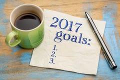 2017 doelstellingen lijst op servet Stock Foto
