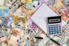 doelstellingen met euro en dollar royalty-vrije stock foto