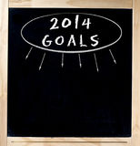 2014 doelstellingen Titel op Bord Stock Afbeeldingen
