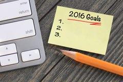 Doelstellingen voor 2016 Stock Foto