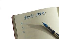 Doelstellingen voor 2017 in de organisator worden geschreven die Stock Foto's